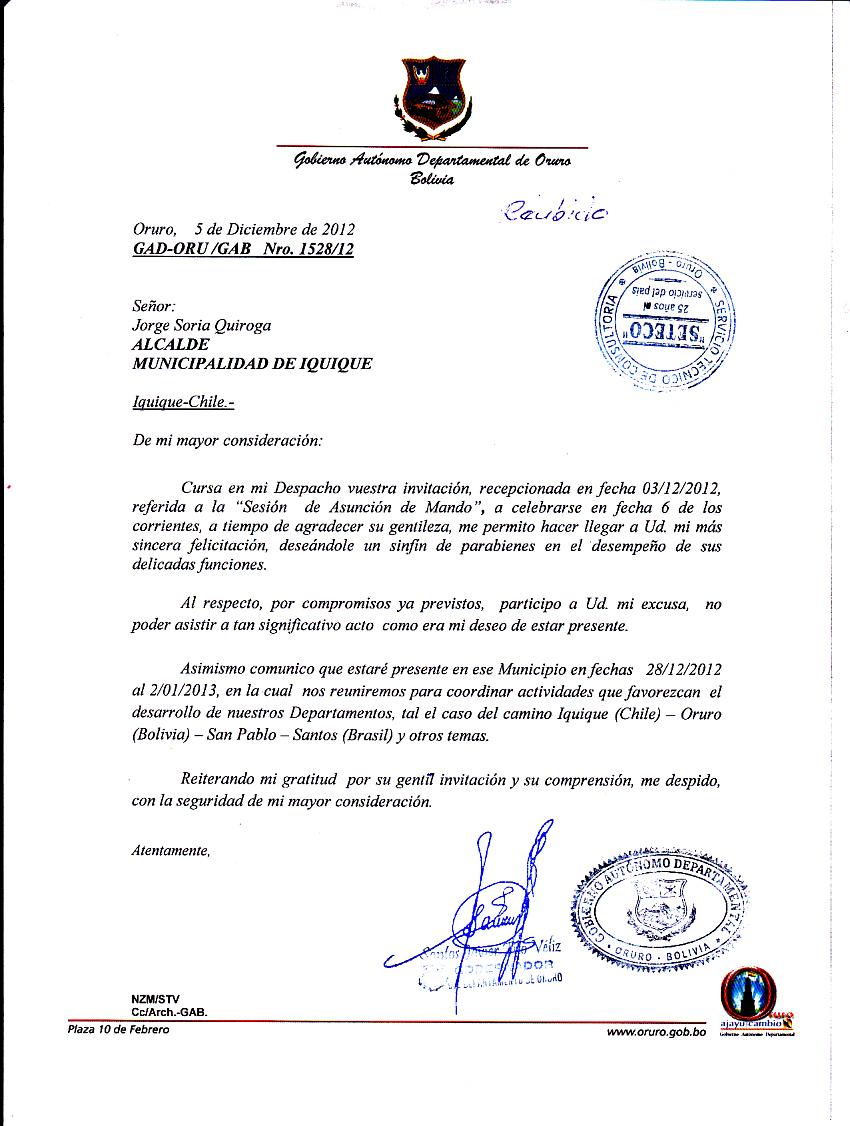 Gobernador de Oruro confirma que vendrá a Iquique para trabajar por Integración