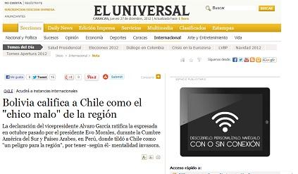 Bolivia califica a Chile como el «chico malo» de la región