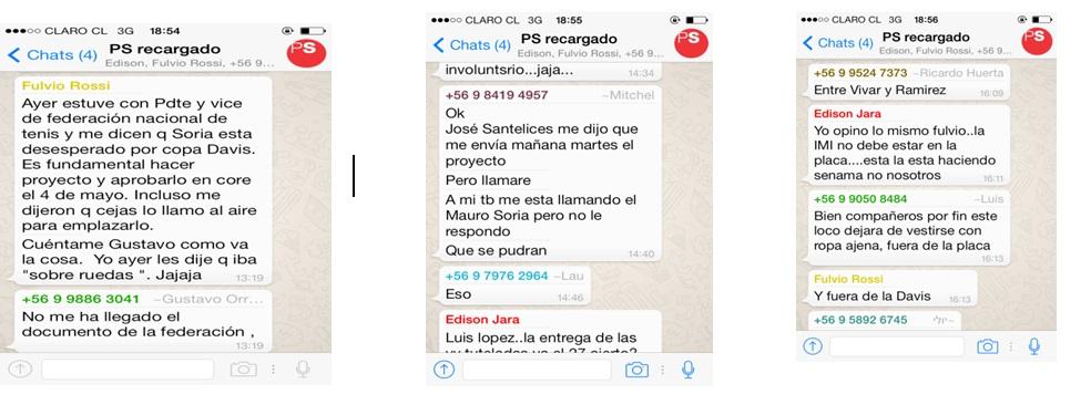 """Filtración de WhatsApp del grupo """"PS Recargado"""" influyó para que no se realice en Iquique la Copa Davis"""