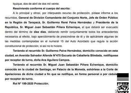 Corte acoge a tramitación recurso de protección contra el Presidente Piñera y el jefe de la zona de catástrofe en Tarapacá, General Guillermo Paiva, presentado por habitantes de Pozo Almonte